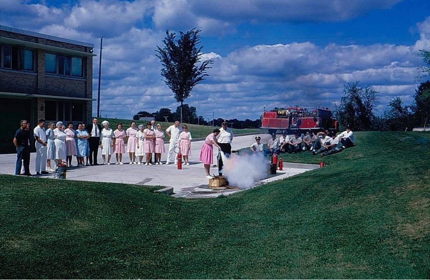 Fire Dept 1965 demonstration at the hospital