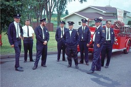 Waiting to line up for parade 1963